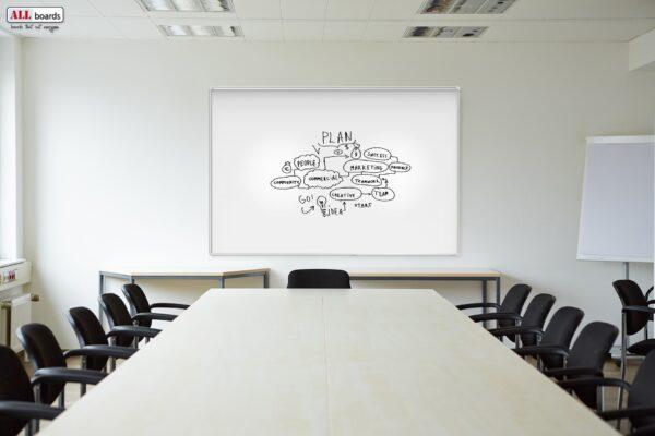 Magnettahvel suure koosolekuruumi valgel seinal